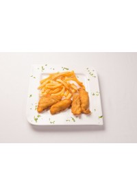 5. Escalopines de rosada con patatas fritas