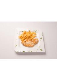 4. Pechuga de pollo empanada o a la plancha con patatas fritas